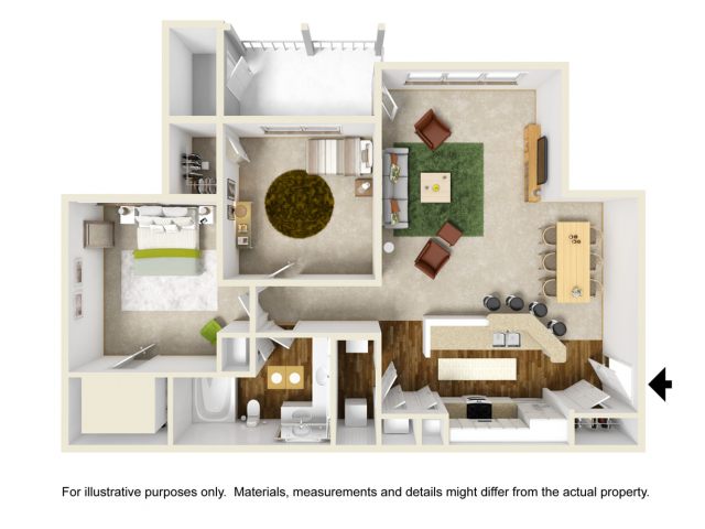 Laurel with Sunroom Floor Plan | 2 Bedroom with 1 Bath | 1100 Square Feet | Summer Park | Apartment Homes
