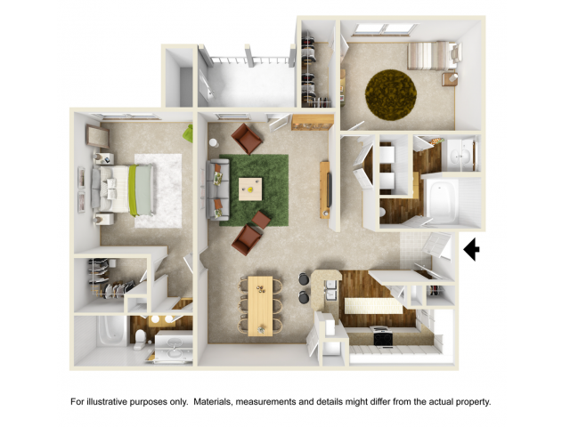 Orchid with Sunroom Floor Plan | 2 Bedroom with 2 Bath | 1241 Square Feet | Summer Park | Apartment Homes