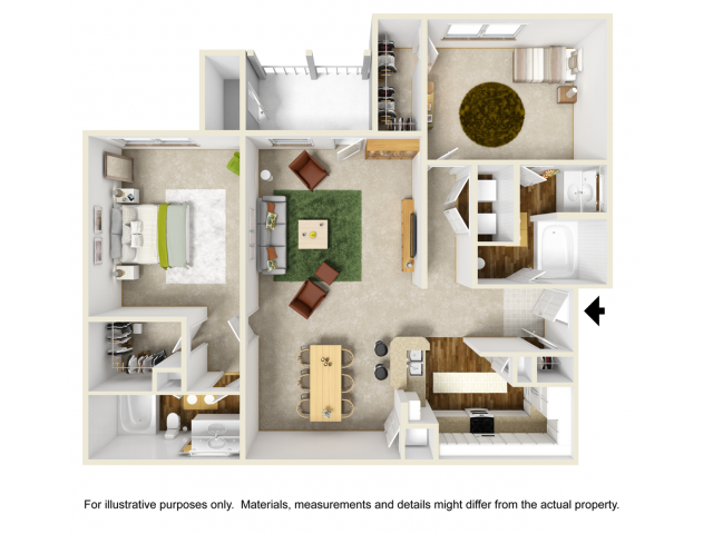 Orchid Renovated Floor Plan | 2 Bedroom with 2 Bath | 1216 Square Feet | Summer Park | Apartment Homes