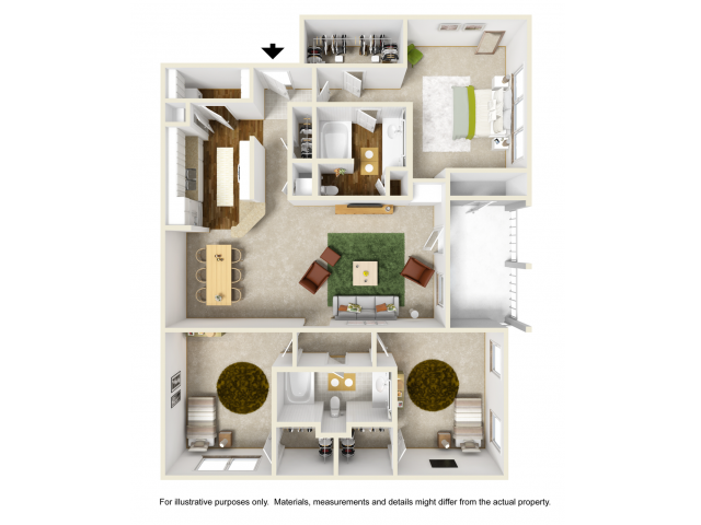 Rose Floor Plan | 3 Bedroom with 2 Bath | 1411 Square Feet | Summer Park | Apartment Homes