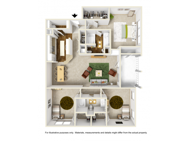 Rose with Sunroom Floor Plan | 3 Bedroom with 2 Bath | 1451 Square Feet | Summer Park | Apartment Homes