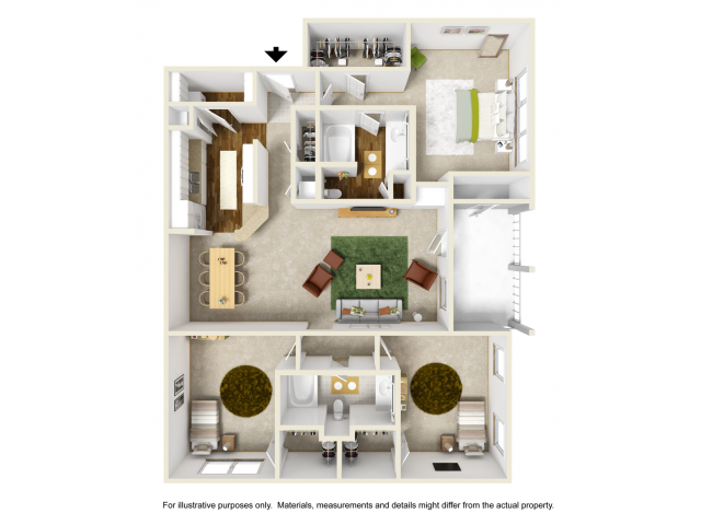 Rose Renovated Floor Plan | 3 Bedroom with 2 Bath | 1411 Square Feet | Summer Park | Apartment Homes