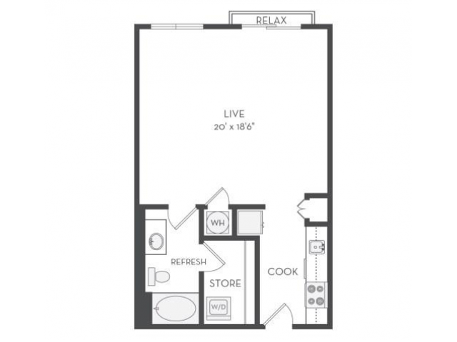 The Tesla Floor Plan | Studio with 1 Bath | 672 Square Feet | Cottonwood Westside | Apartment Homes