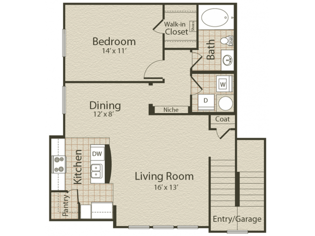 The St. Charles Floor Plan | 1 Bedroom with 1 Bath | 880 Square Feet | Enclave on Golden Triangle | Apartment Homes