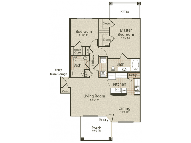 The Ventnor Floor Plan | 2 Bedroom with 2 Bath | 1127 Square Feet | Enclave on Golden Triangle | Apartment Homes
