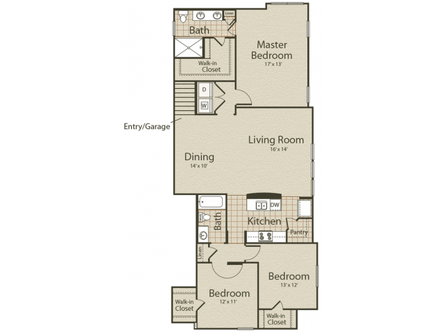 The Park Place Floor Plan | 3 Bedroom with 2 Bath | 1535 Square Feet | Enclave on Golden Triangle | Apartment Homes