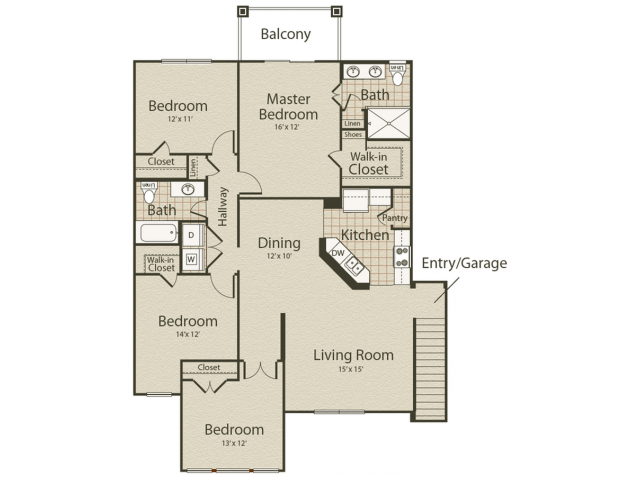 The Boardwalk Floor Plan | 4 Bedroom with 2 Bath | 1557 Square Feet | Enclave on Golden Triangle | Apartment Homes