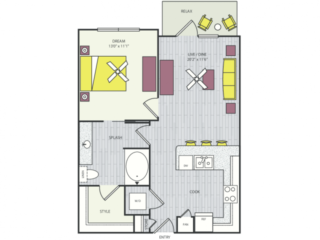 A1a Floor Plan | 1 Bedroom with 1 Bath | 796 Square Feet | Routh Street Flats | Apartment Homes