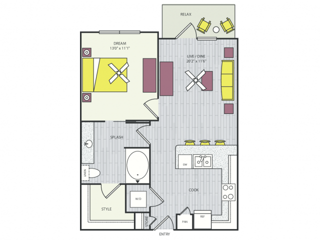 A1b Floor Plan | 1 Bedroom with 1 Bath | 686 Square Feet | Routh Street Flats | Apartment Homes