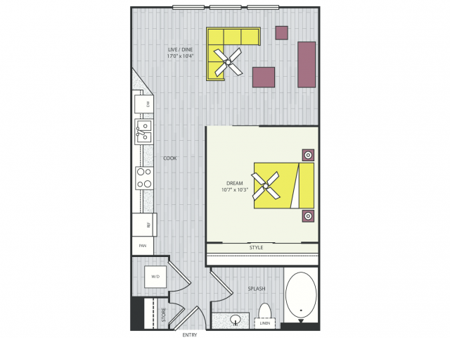 S2h Floor Plan | Studio with 1 Bath | 586 Square Feet | Routh Street Flats | Apartment Homes