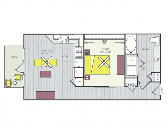 A3c Floor Plan | 1 Bedroom with 1 Bath | 659 Square Feet | Routh Street Flats | Apartment Homes