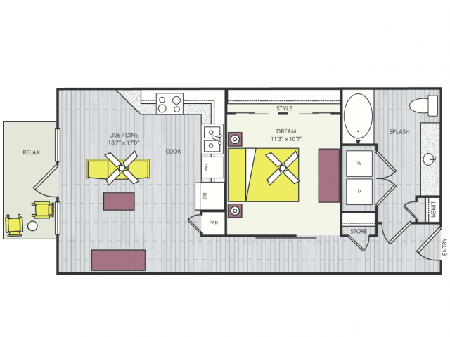 A3d Floor Plan | 1 Bedroom with 1 Bath | 656 Square Feet | Routh Street Flats | Apartment Homes