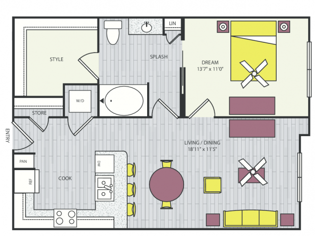 A6f Floor Plan | 1 Bedroom with 1 Bath | 702 Square Feet | Routh Street Flats | Apartment Homes