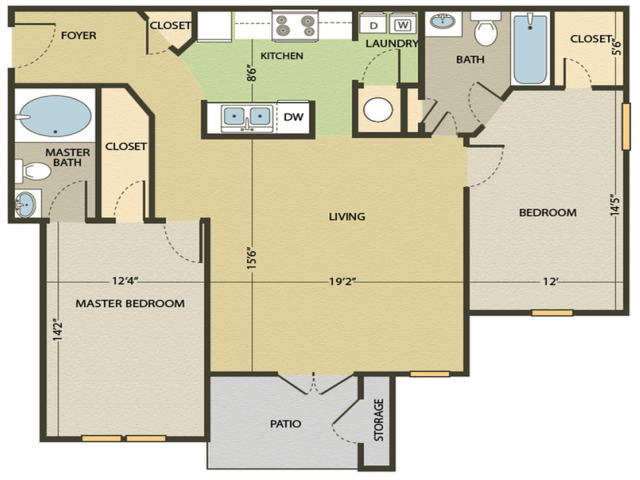 The Edisto Floor Plan   2 Bedroom with 2 Bath   1085 Square Feet   Arbors at Fairview   Apartment Homes