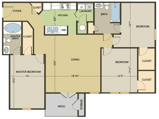 The Hilton Floor Plan   3 Bedroom with 2 Bath   1277 Square Feet   Arbors at Fairview   Apartment Homes