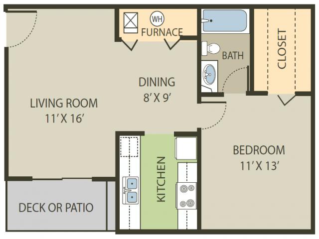 Deerfield Floor Plan   1 Bedroom with 1 Bath   642 Square Feet   Fox Point in Old Farm   Apartment Homes