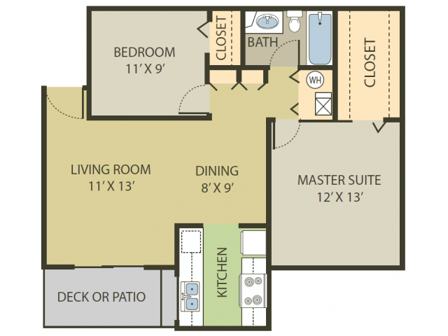 Berkshire Floor Plan   2 Bedroom with 1 Bath   818 Square Feet   Fox Point in Old Farm   Apartment Homes