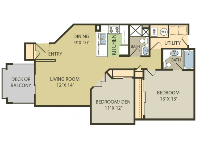 Chesapeake Floor Plan   2 Bedroom with 2 Bath   980 Square Feet   Fox Point in Old Farm   Apartment Homes