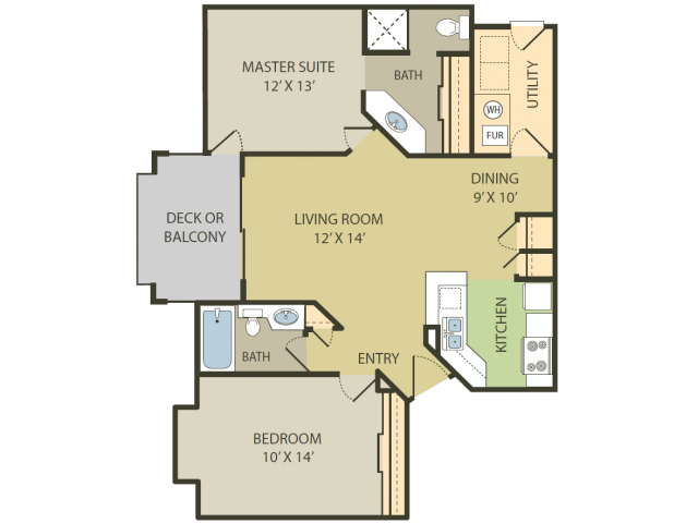 Bridgewater Floor Plan   2 Bedroom with 2 Bath   1008 Square Feet   Fox Point in Old Farm   Apartment Homes