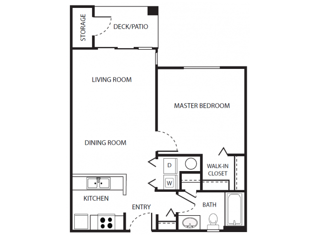 A3 Floor Plan | 1 Bedroom with 1 Bath | 656 Square Feet | Scott Mountain | Apartment Homes