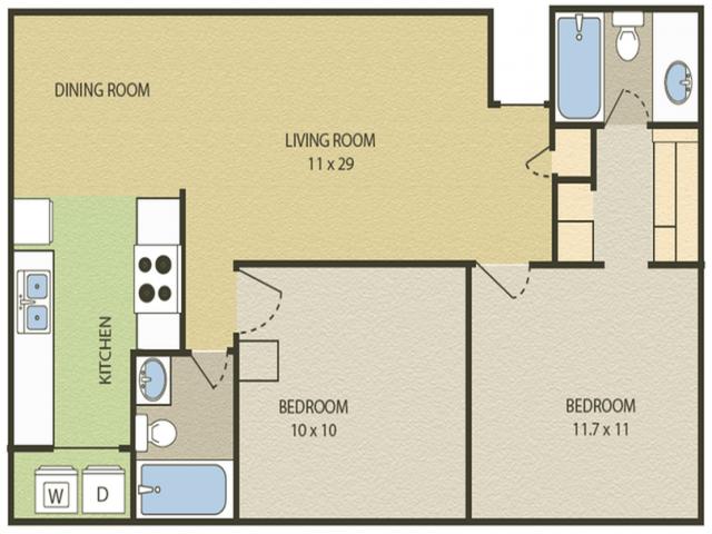 Lexington Floor Plan | 2 Bedroom with 2 Bath | 948 Square Feet | Camelot  | Apartment Homes