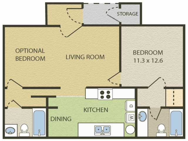Windsor Floor Plan | 2 Bedroom with 2 Bath | 828 Square Feet | Camelot  | Apartment Homes