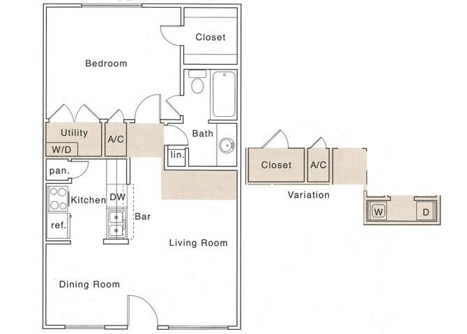 A Floor Plan | 1 Bedroom with 1 Bath | 658 Square Feet | The Regatta | Apartment Homes