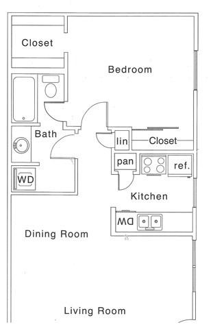 C Floor Plan | 1 Bedroom with 1 Bath | 700 Square Feet | The Regatta | Apartment Homes