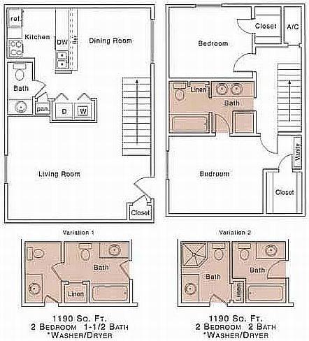 H Floor Plan | 2 Bedroom with 1.5 Bath | 1190 Square Feet | The Regatta | Apartment Homes