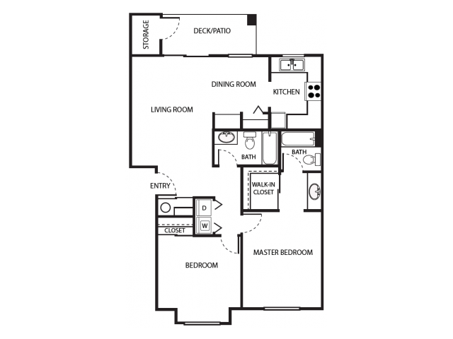 B1 Floor Plan | 2 Bedroom with 2 Bath | 930 Square Feet | Scott Mountain | Apartment Homes