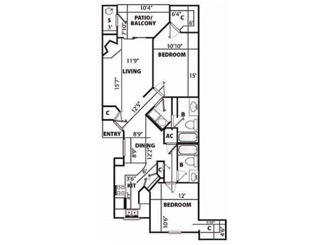 F Renovated Floor Plan   2 Bedroom with 2 Bath   1207 Square Feet   Pavilions   Apartment Homes