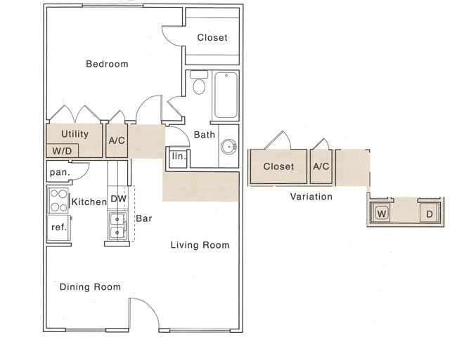 Af Floor Plan | 1 Bedroom with 1 Bath | 658 Square Feet | The Regatta | Apartment Homes