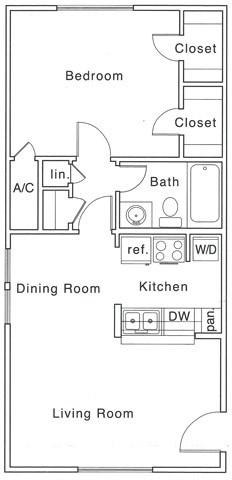Bf Floor Plan | 1 Bedroom with 1 Bath | 685 Square Feet | The Regatta | Apartment Homes