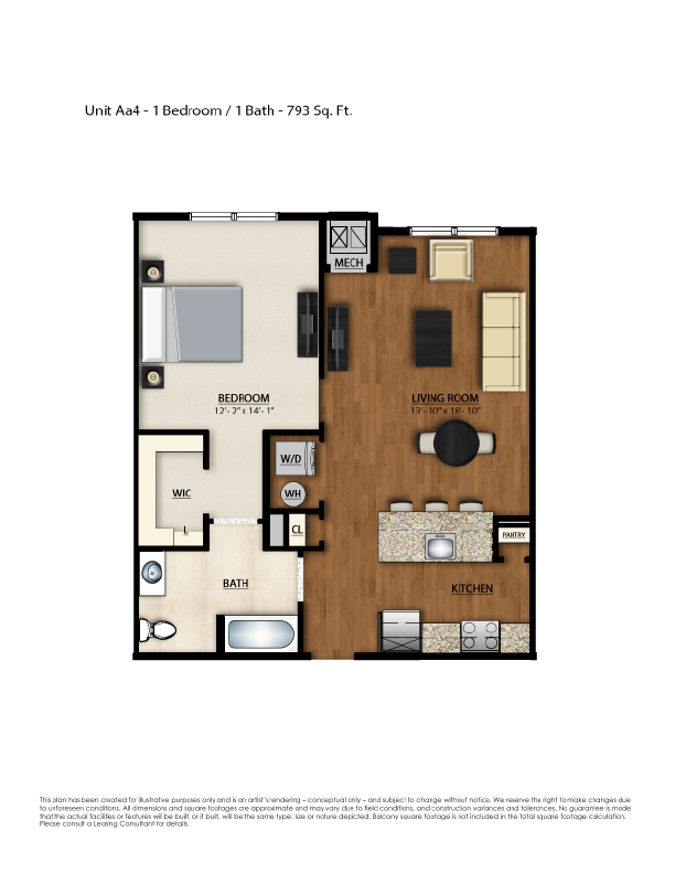 AA4 Floor Plan | 1 Bedroom 1 Bath | 793 Square Feet | Parc Westborough | Apartment Homes