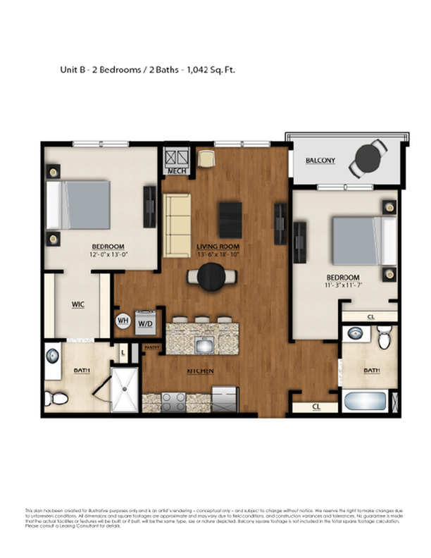 B Floor Plan | 2 Bedroom 2 Bath | 1042 Square Feet | Parc Westborough | Apartment Homes