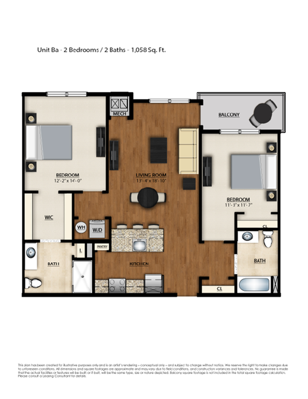 BA Floor Plan | 2 Bedroom 2 Bath | 1058 Square Feet | Parc Westborough | Apartment Homes