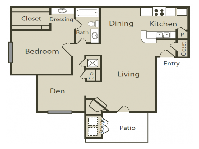 D1 with Den Floor Plan | 1 Bedroom with 1 Bath | 915 Square Feet | Solara | Apartment Homes
