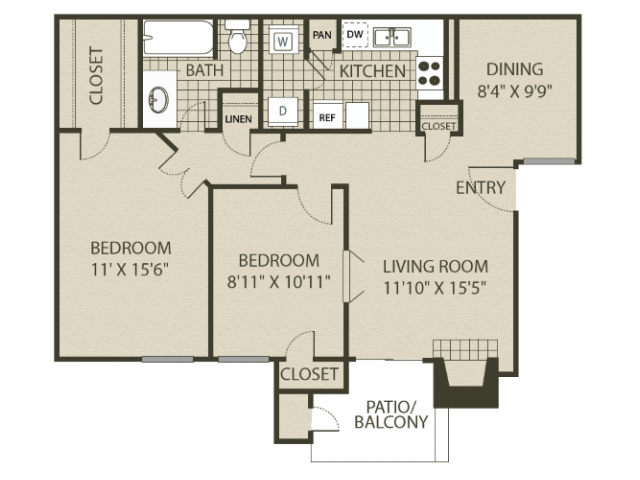 B1 Floor Plan   2 Bedroom with 1 Bath   874 Square Feet   The Oaks of North Dallas   Apartment Homes
