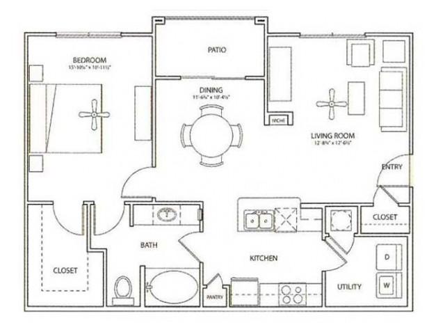 Newport Floor Plan | 1 Bedroom with 1 Bath | 852 Square Feet | Retreat at Stafford | Apartment Homes