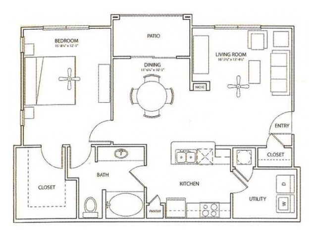 Chell Floor Plan | 1 Bedroom with 1 Bath | 897 Square Feet | Retreat at Stafford | Apartment Homes
