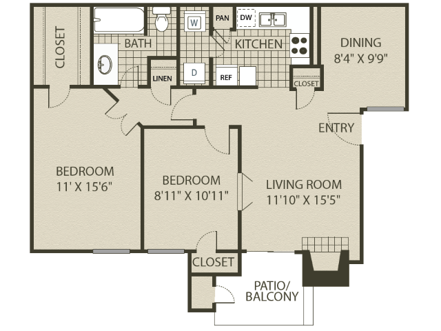 Upgraded B1 Floor Plan   2 Bedroom with 1 Bath   874 Square Feet   The Oaks of North Dallas   Apartment Homes