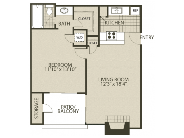 Renovated A1 Floor Plan   1 Bedroom with 1 Bath   600 Square Feet   The Oaks of North Dallas   Apartment Homes
