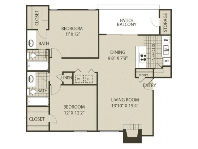 Renovated B2 Floor Plan   2 Bedroom with 2 Bath   1000 Square Feet   The Oaks of North Dallas   Apartment Homes