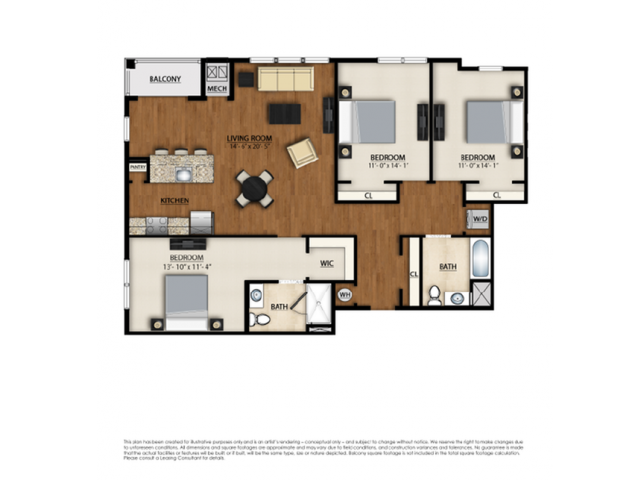 D Floor Plan | 3 Bedroom 2 Bath | 1411 Square Feet | Parc Westborough | Apartment Homes