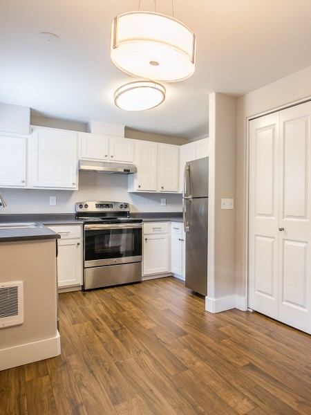 View of the Renovated Apartment Interior at Scott Mountain Apartments, Showing Kitchen with Plank Flooring and Stainless Steel Appliances