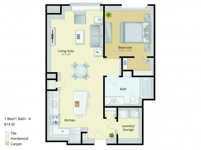 A1 Floor Plan | 1 Bedroom with 1 Bath | 814 Square Feet | Cottonwood One Upland | Apartment Homes