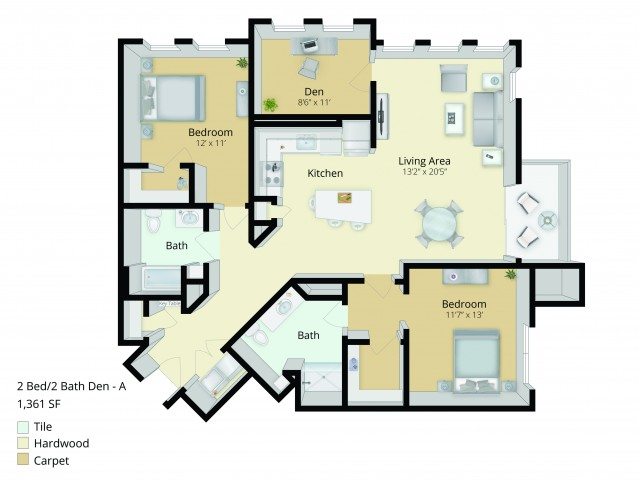 B5D Floor Plan | 2 Bedroom with 2 Bath and Den | 1361 Square Feet | Cottonwood One Upland | Apartment Homes