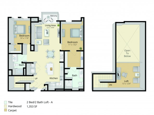 B4 Loft Floor Plan | 2 Bedroom with 2 Bath and Loft | 1353 Square Feet | Cottonwood One Upland | Apartment Homes