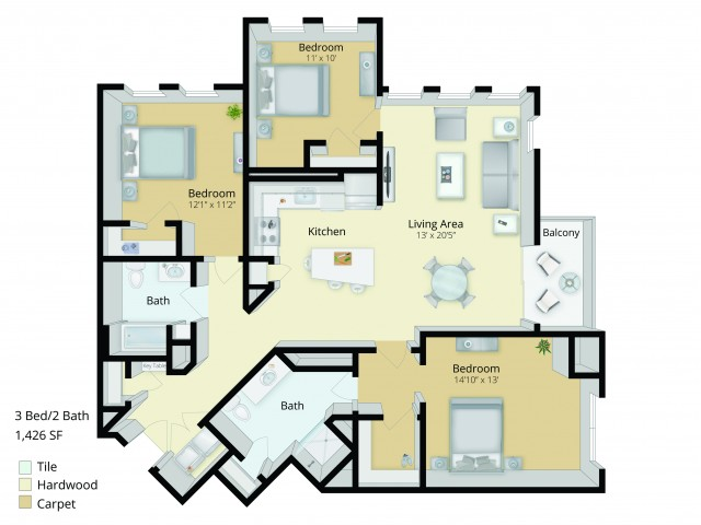 C1 Floor Plan | 3 Bedroom with 2 Bath | 1426 Square Feet | Cottonwood One Upland | Apartment Homes