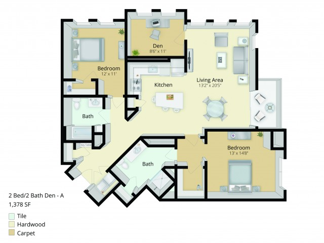 B6D Floor Plan | 2 Bedroom with 2 Bath and Den | 1378 Square Feet | Cottonwood One Upland | Apartment Homes